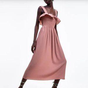 Zara smocked top midi pink dress